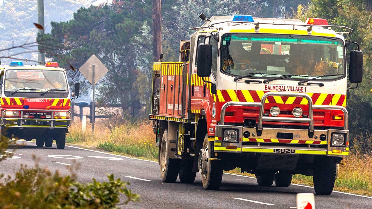 Rural Fire Service trucks in Buxton, NSW, December 2019. Source: Shutterstock