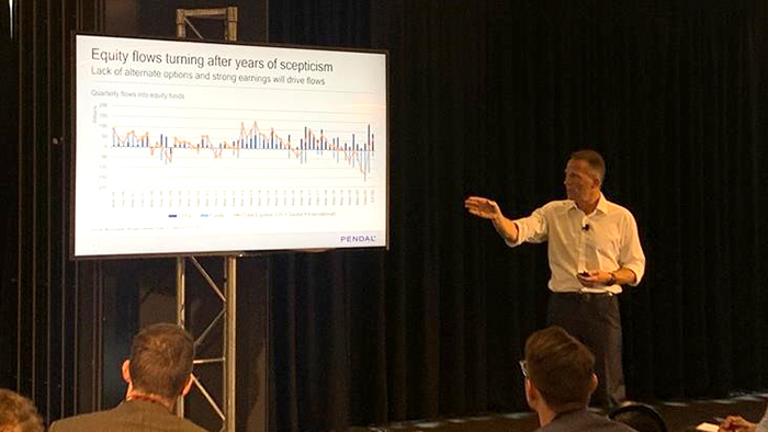 Pendal's head of equities Crispin Murray speaks at the Portfolio Construction Markets Summit in Sydney, March 2021.