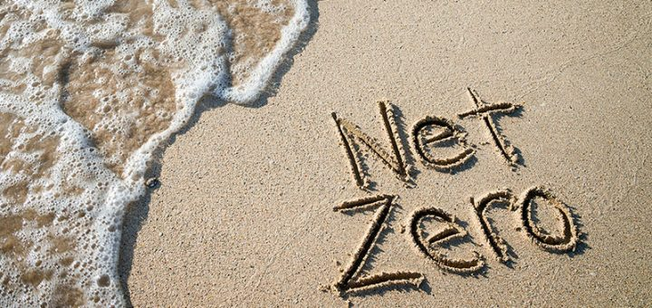 Net zero carved into a sandy beach. Sustainable investing. Impact. ESG.